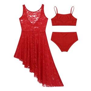 Image 3 - Kids Teens Lyrical Dance Costumes Set Girls Ballet Tutu Floral Lace Dress Gymnastics Shorts Tops Dress Suit Dance Wear