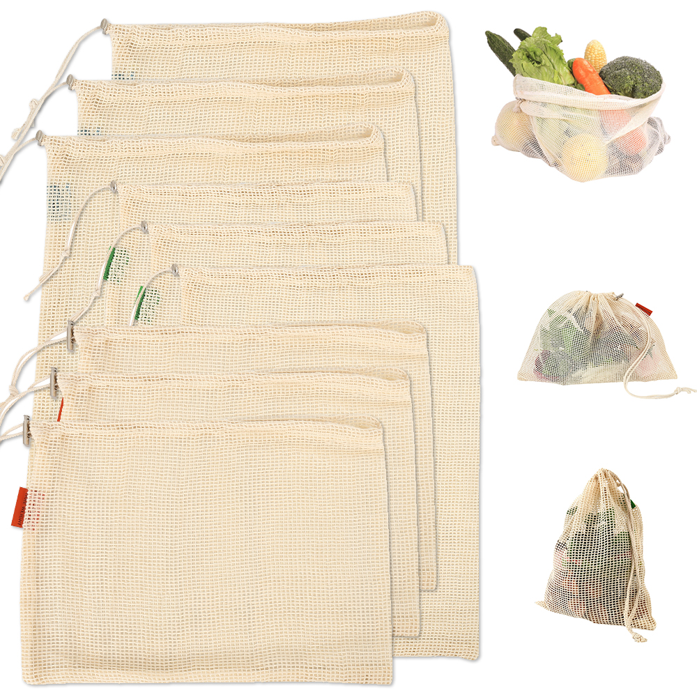 9 x Reusable Cotton Mesh Storage Bags for Kitchen Vegetables Fruit Grocery Organizer Eco-friendly Washable Shopping Bag