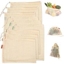 9 x многоразовые хлопковые сетчатые сумки для хранения, кухонные овощные сумки для фруктов, органайзер для продуктов, Экологичная моющаяся сумка для покупок
