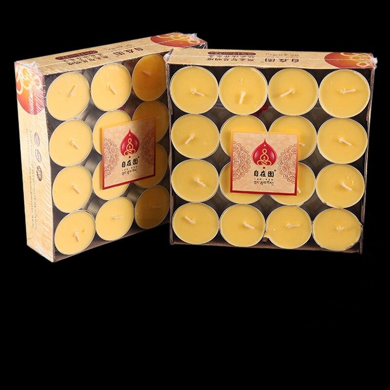 Z 12 godzin spalanie 100% naturalne masło lampy świeca, stopione masło świeca z pokrywa aluminiowa, żółty kolor, codziennego użytku lub buddy módl się w Świece od Dom i ogród na AliExpress - 11.11_Double 11Singles' Day 1