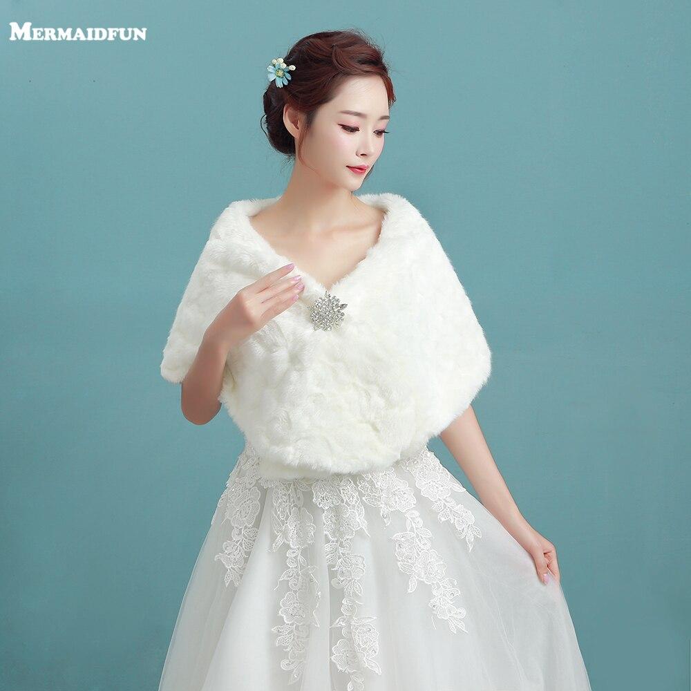 White Faux Fur Ribbon Winter Wedding Bridal Shawl Shrug Cape Stole ...