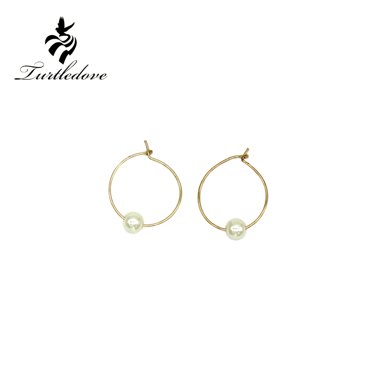Turtledove Fashion Northern Europe simple style Small circle Pearl Earrings