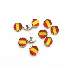 Hot selling 20pcs/lot 12mm Glass national flag Snap Buttons Fit  DIY Bracelet Button Charms Jewelry