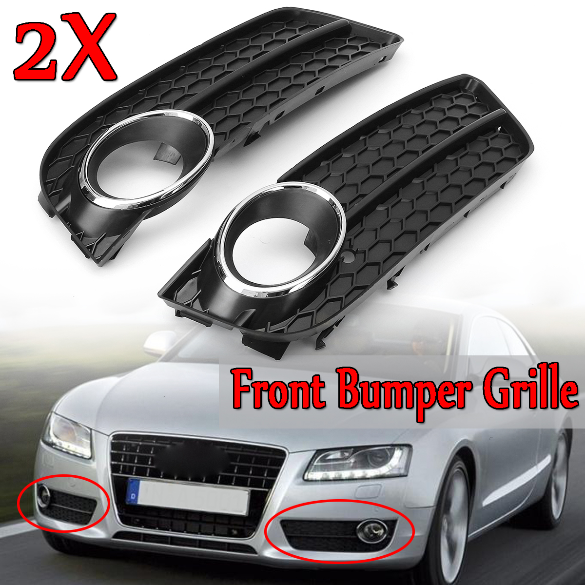 A Pair Front Bumper Fog Light Lamp Racing Grille Grill Cover For Audi A5 For Coupe/Sportback 2008-11 Cabriolet 10-11 Chrome TrimA Pair Front Bumper Fog Light Lamp Racing Grille Grill Cover For Audi A5 For Coupe/Sportback 2008-11 Cabriolet 10-11 Chrome Trim