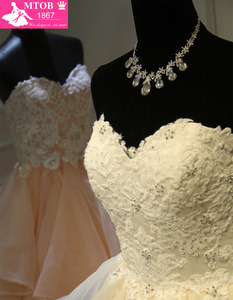 Image 4 - Stylish Sexy Sweetheart Champagne Wedding Dresses Lace Beading Layered Ruffle Skirt Robe De Mariage Acutaul Images MTOB1793