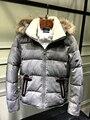 Vestuário dos homens novos de inverno ganso para baixo com gola de pele de guaxinim moletom com capuz Canadense juventude parkas quentes da China preto cinza prata xxl