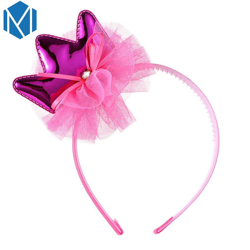M MISM Girls Princess Crown Rabbit Ear Hair Bands Headwear Ribbon PU Mesh Yarn Rhinestone Shining Hair Hoop For Birthday Party