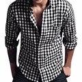 Lisli popeline peached tecido de manga longa para homens camisa dos homens de moda xadrez turn-down collar 01s0370 azul preto vermelho
