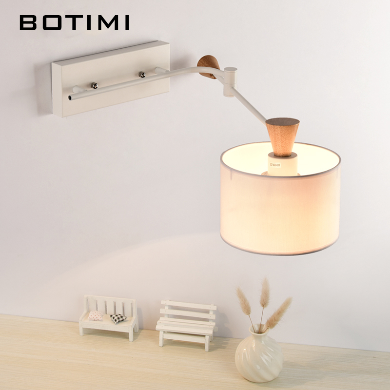 BOTIMI Nordic Wall Lamp With Swing Arm Applique murale luminaire Wooden Wall Sconce For Bedroom Reading Lighting Fixtures top grade wood handcrafted swing arm light sconce led wall lamp nordic style home decoration lighting e27 black with switch