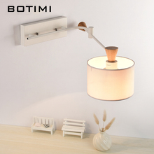 BOTIMI Nordic wall Lamp with Swing arm applique murale luminaire wooden wall sconce for bedroom reading lighting fixtures botimi led wall lamp for bedroom rectangle reading wall sconce applique murale luminaire modern mirror light bedside lighting