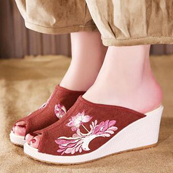 Ladies Canvas Open Toe Wedges Slipper Slides Summer Casual Holiday Sandals Floral Embroider Vintage Pumps Flax Insole Shoe 2