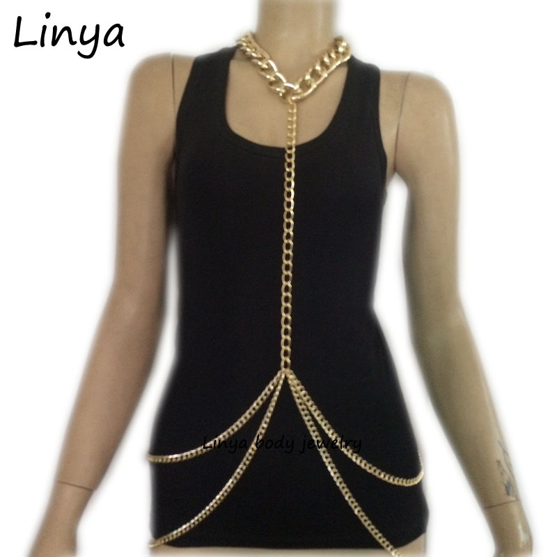 gold Color simple chain jewelry , Body Jewelry, Chain Necklace Harness Chainmail BC-143 Free Shipping