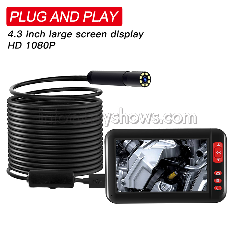 Plug And Play 8MM 1080P 4.3 Inch LCD Display Screen HD Endoscope Borescope IP Camera USB Inspection Endoscopio With 8 LEDs