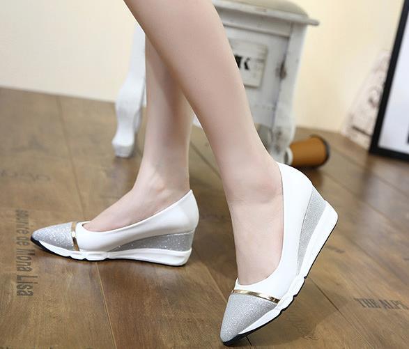 Bout Lady blanc Cales Talons Femmes Mode Noir Or Base Hauts Rose Wedge À 34 De 39 Taille Ruban Chaussures Pointu forme Plate POx1dSx