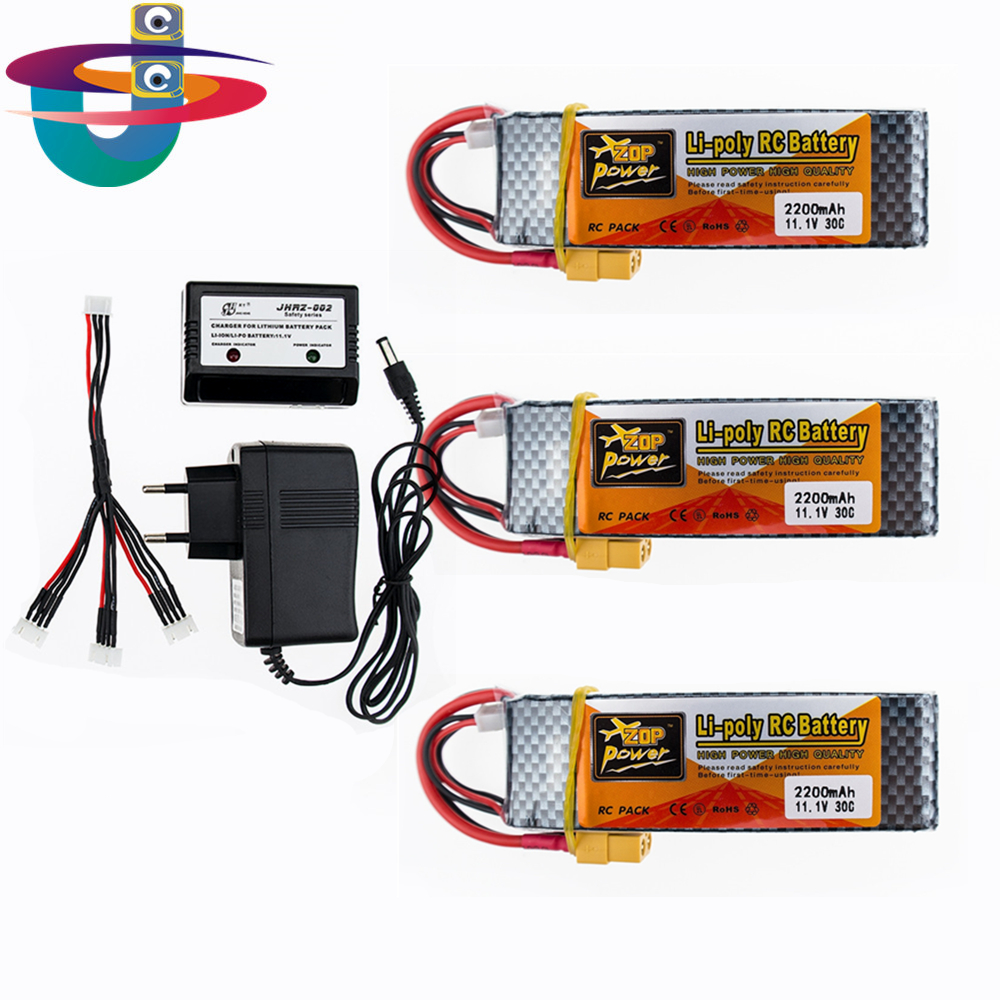 ZOP POWER 2200MAH 11.1V 3S 30C Lipo Battery XT60 T Plug 3pcs and charger set For RC Quadcopter Helicopter Multicopter Drone zop lipo battery 11 1v 2200mah 3s 30c max 35c xt60 t plug for rc helicopter qudcopter drone truck car boat