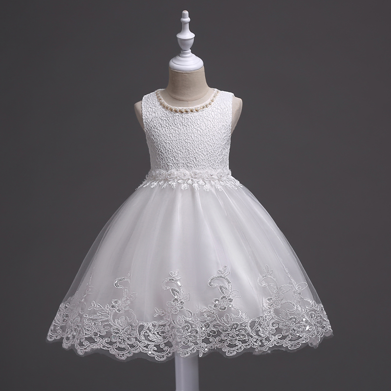 hot new lace party Christmas Wedding dress Children's beaded baby girl dress performance of the clothes baby girl clothes