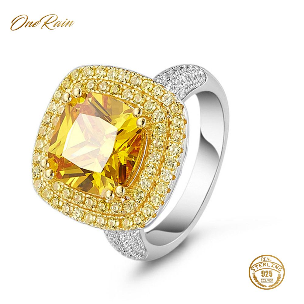 Ring-Jewelry Diamonds Citrine Wedding-Engagement Women 100%925-Sterling-Silver Cocktail-Party