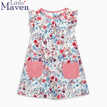100% Little maven children brand 2018 Summer New baby girls Pure cotton printing flower pocket holiday girls beach dress dresses children s dresses new girls dresses printed rural children s beach dresses holiday wind factory direct sales spot