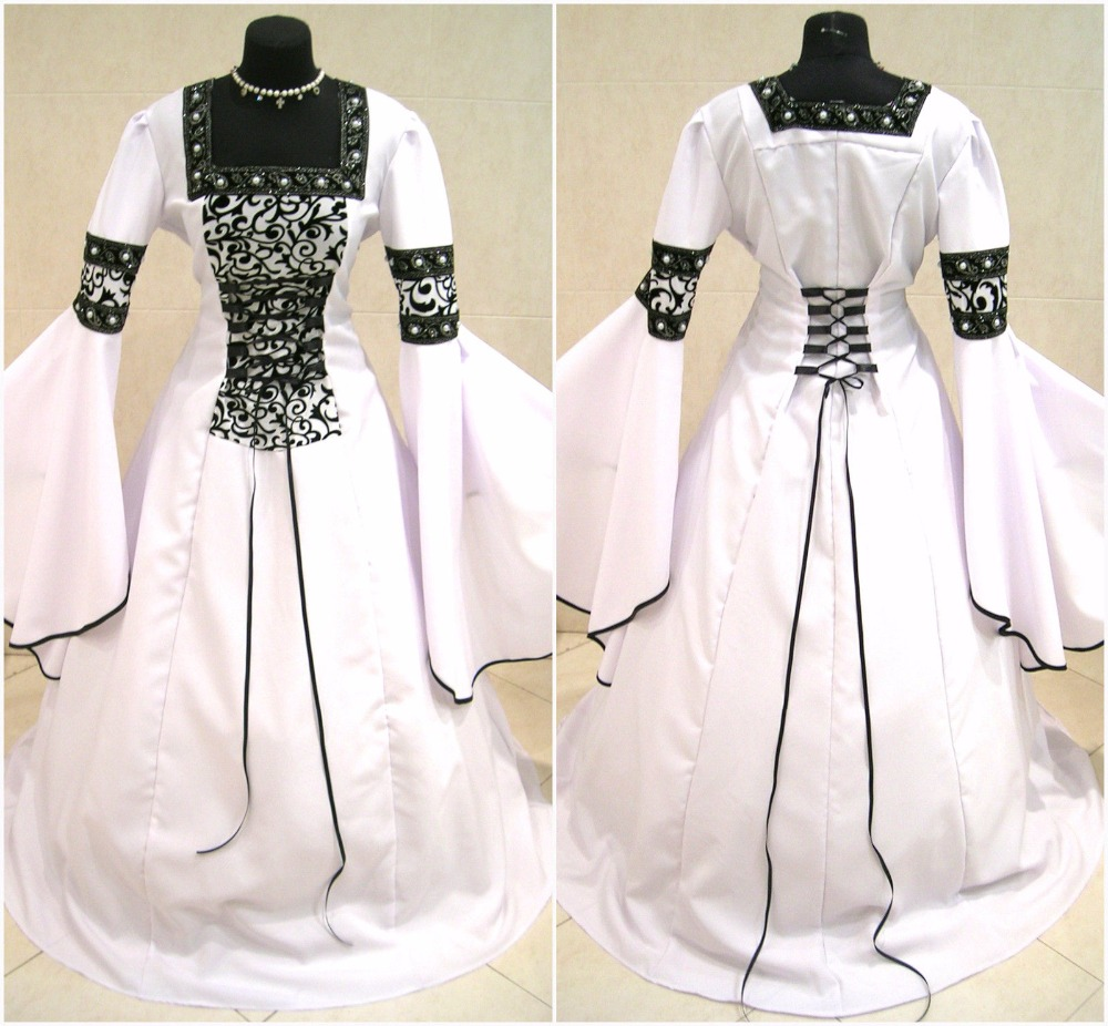 Medieval Wedding Dress Pattern Laced Corset Bridal Gown: Vintage A Line Black And White Wedding Dresses Strapless