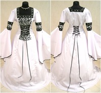 Vintage A Line Black And White Wedding Dresses Strapless Long Flare Sleeves Beading Pattern Lace Up