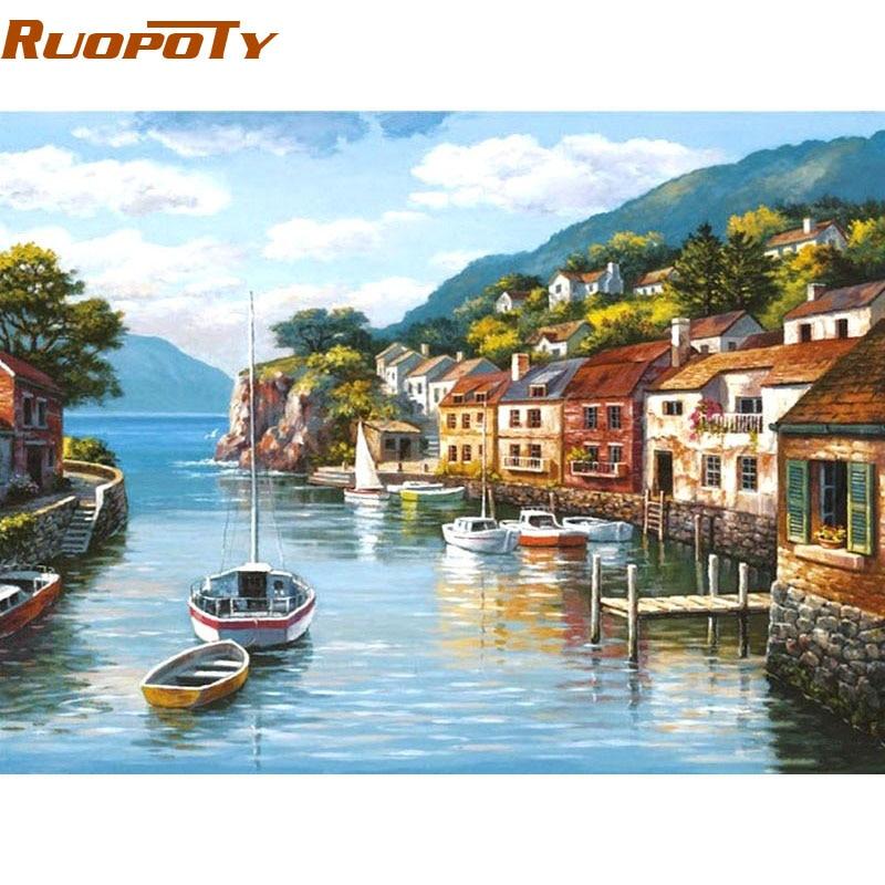RUOPOTY Rahmen Hafen Stadt Landschaft DIY Malen Nach Zahlen Kits Färbung Durch Zahlen Handgemalte Für Hause Wandkunst Bild