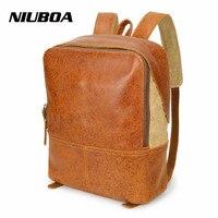 NIUBOA Women Backpack Genuine Leather School Backpacks For Teenage Girls Cowhide Shoulder Bag Preppy School Boy