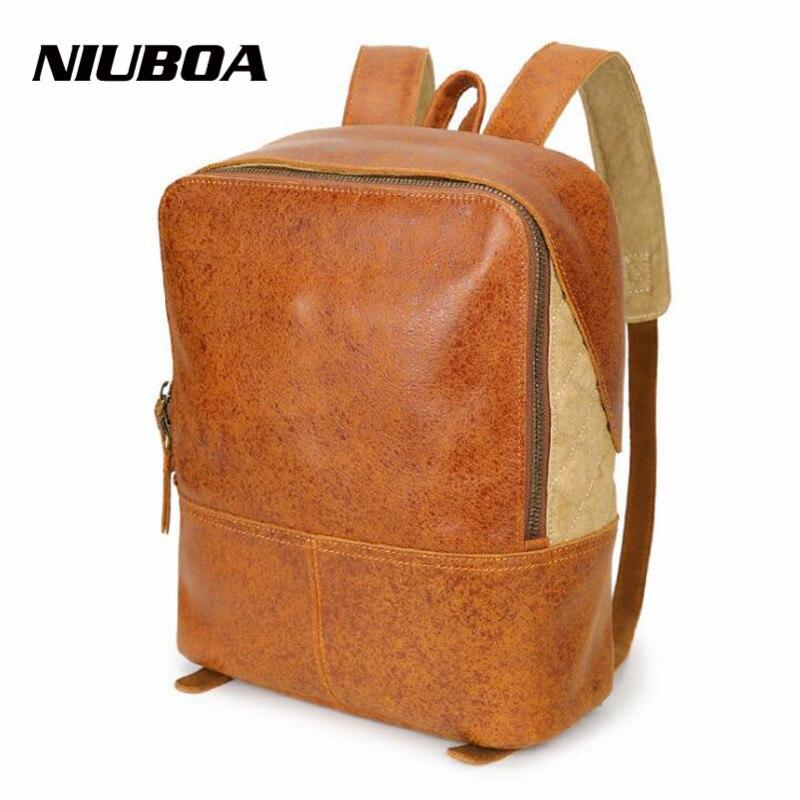NIUBOA Women Backpack Genuine Leather School Backpacks for Teenage Girls Cowhide shoulder Bag Preppy School Boy Travel Bags