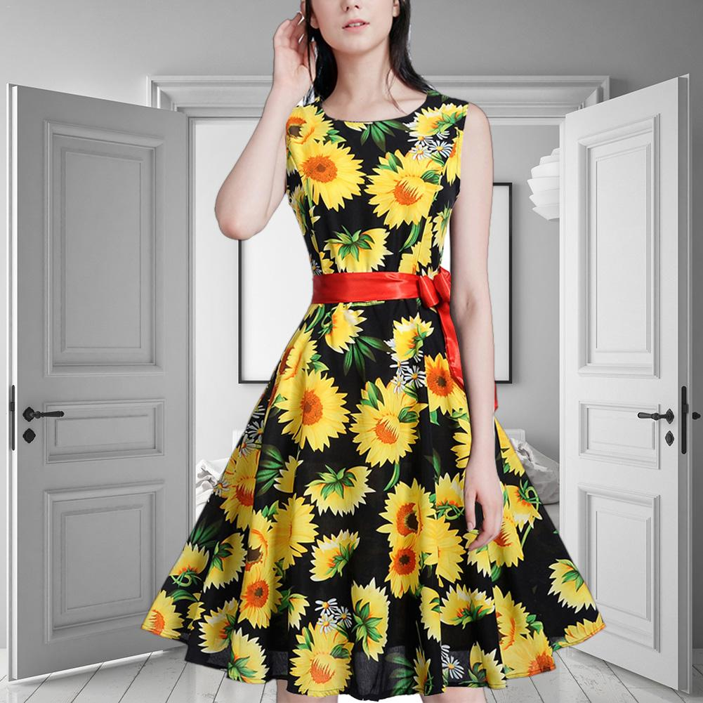 ISHINE Summer Dress Vintage Off shoulder Sexy Sun Flower Print Women Party Dresses Casual Elegant vestidos verano 2018