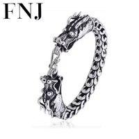 dragon head Interfax bracelet 9mm Thickness 23cm 115g pure 925 sterling silver chain men jewelry S925 silver vintage bracelets