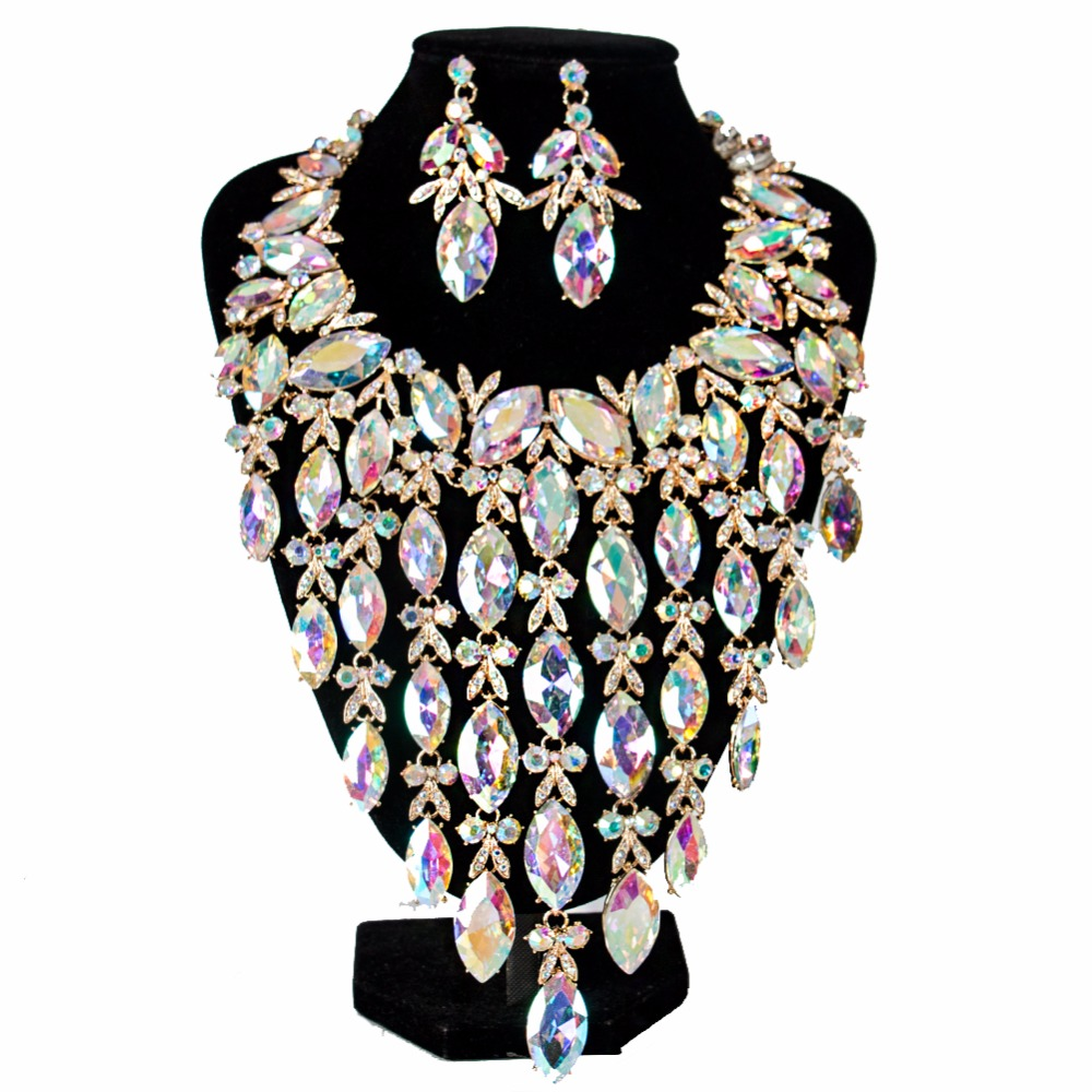 Lan palais de luxe grand cristal de mariée ensemble de bijoux six couleurs collier et boucles d'oreilles pour wo'men livraison gratuite