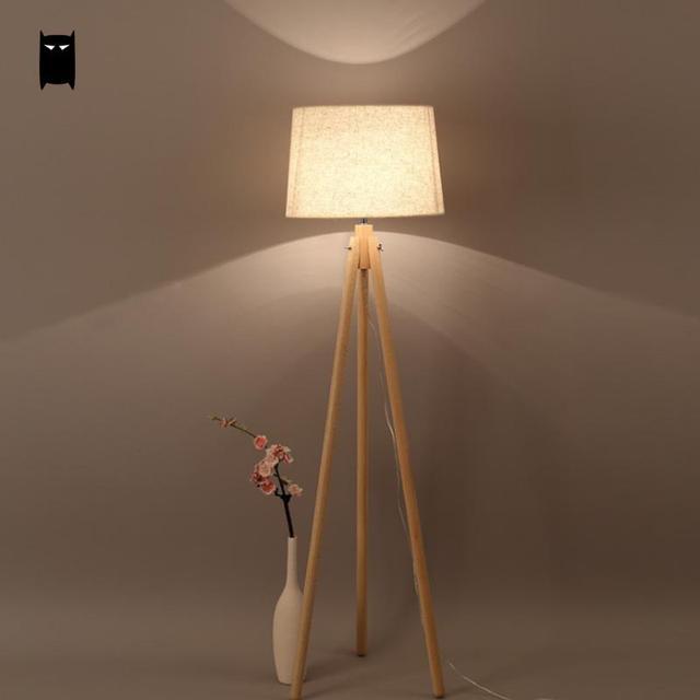 3 Legs Wood Fabric Shade Floor Lamp Fixture Nordic Scandinavian Art Korean Night Stand Light Luminaria Designer Living Bed Room
