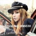 Spring Summer Thin Gold Chain Navy Cap Student Hat Millitary Flat Captain Cap Cadet Free Shipping SDDB-022