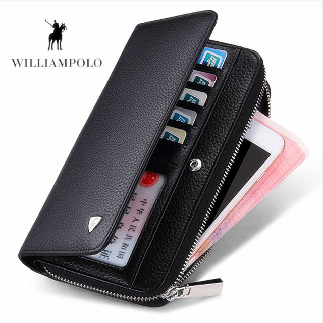 WILLIAMPOLO Men Long Wallet  New Luxury Brand 100% Top Genuine Cowhide Leather High Quality Coin Purse fashion Male  Wallets