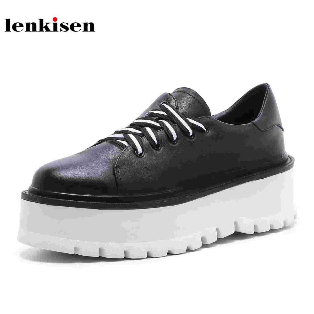Lenkisen кожа коровы Классический с круглым носком обувь со шнуровкой на платформе весна повседневная обувь высокий каблук странные Бег женщин