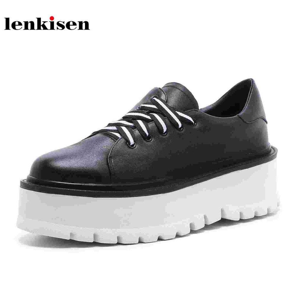 Lenkisen vache en cuir classique bout rond dentelle jusqu'à la plate-forme printemps causalité chaussures de haute talon étrange de course femmes vulcanisé chaussures L82