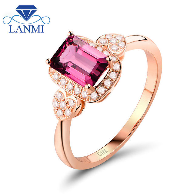 Western Wedding Rings With1.30ct Emerald Cut 4x6mm Pink Tourmaline Ring And Diamonds In 18Kt Rose Gold WU269