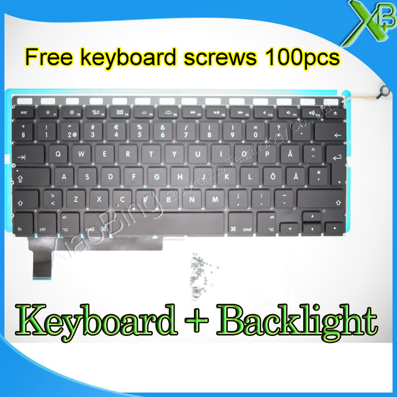 "Brand New For MacBook Pro 15.4 inch"" A1286 SE Swedish Sweden keyboard+Backlight Backlit+10keyboard screws 2009-2012 Years"""