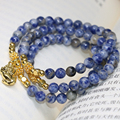 Natural blue spot semi-precious stone multilayer bracelets round beads 6mm high grade fashion women hot sale diy jewelry B2226