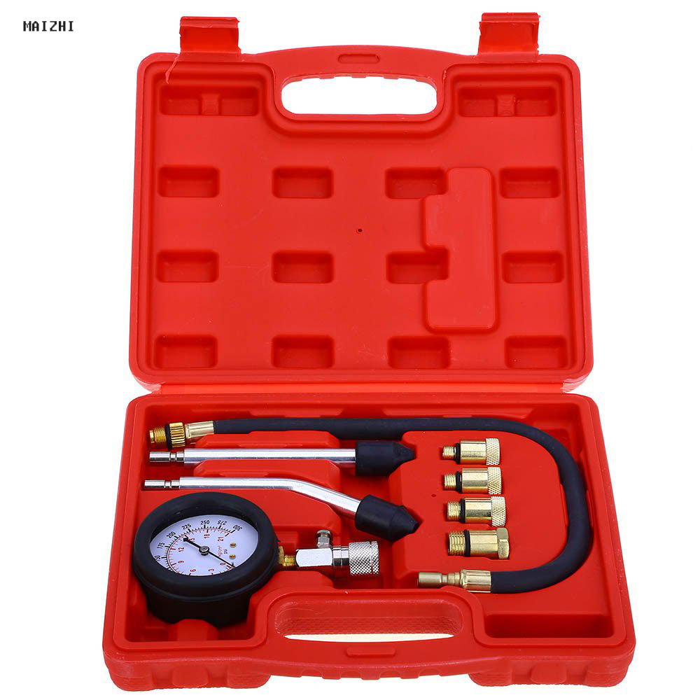 Free shipping High quality 9 PCS Petrol cylinder leakage tester Gauge Meter Test Pressure Compression Tester Leakage Diagnostic