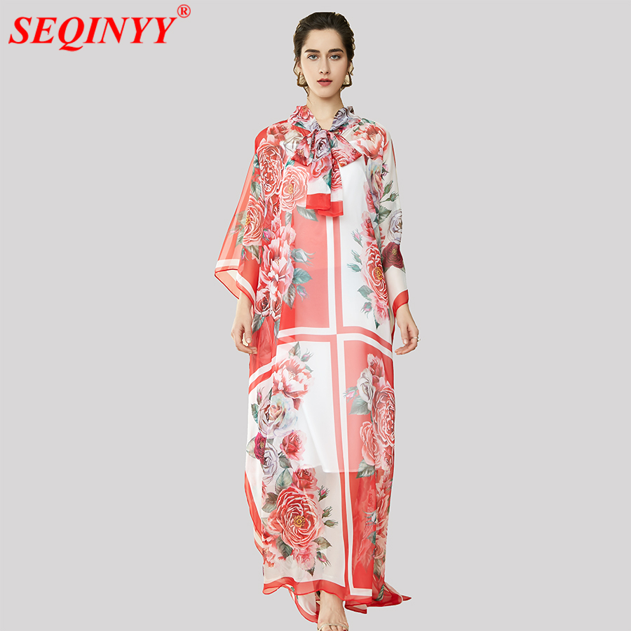 Print Vintage Dress Women 2018 Spring High End Plus Size 5XL Long Batwing Sleeve Bow Collar
