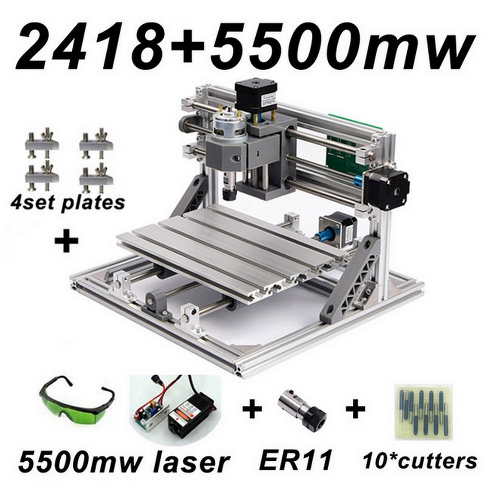 CNC2418 Laser Engraving Machine ER11 with 500mw 2500mw 5500mw Head Wood Router PCB Milling Wood Carving Machine DIY Mini CNC