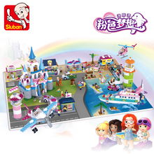 Sluban Pink Dream Princess Castle Ship Boat Airport Plane Helicopter Car Horse Girl DIY Building Blocks Toy for Children no Box