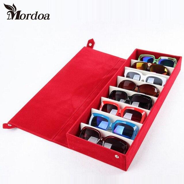 Moedoa estojo para óculos de sol, caixa de armazenamento para óculos de sol, 8 compartimentos, joias, 48.5x18*6cm caixa de exibição/rack