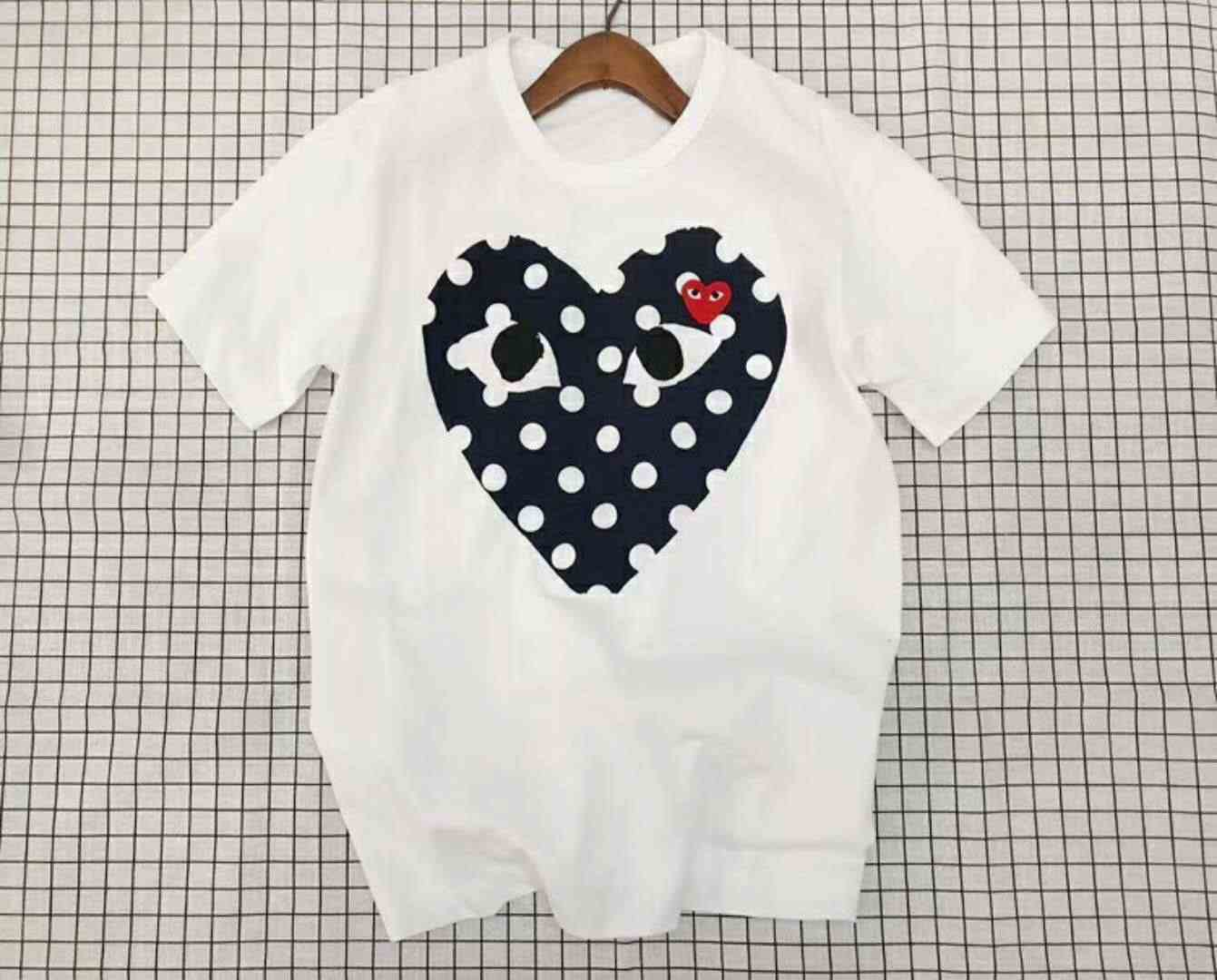 Футболка с короткими рукавами Comme Des Garcon PLAY Blue PLAY RED HEART Garcons