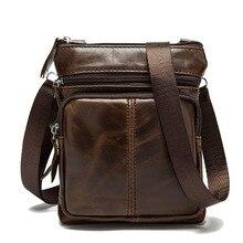 2017 Crazy Horse Genuine Leather Tote Shoulder Handbag Men's Messenger Bag Black Male Handbags