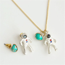 exclusive 1pc japan silver plated astronaut planet pendant short necklaces womens unique chic clavicle chain jewelry