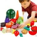 20 unids/set de madera de cocina fruta vegetal de corte toys niños pretend play toys cocinero cosplay para chiledren educativos