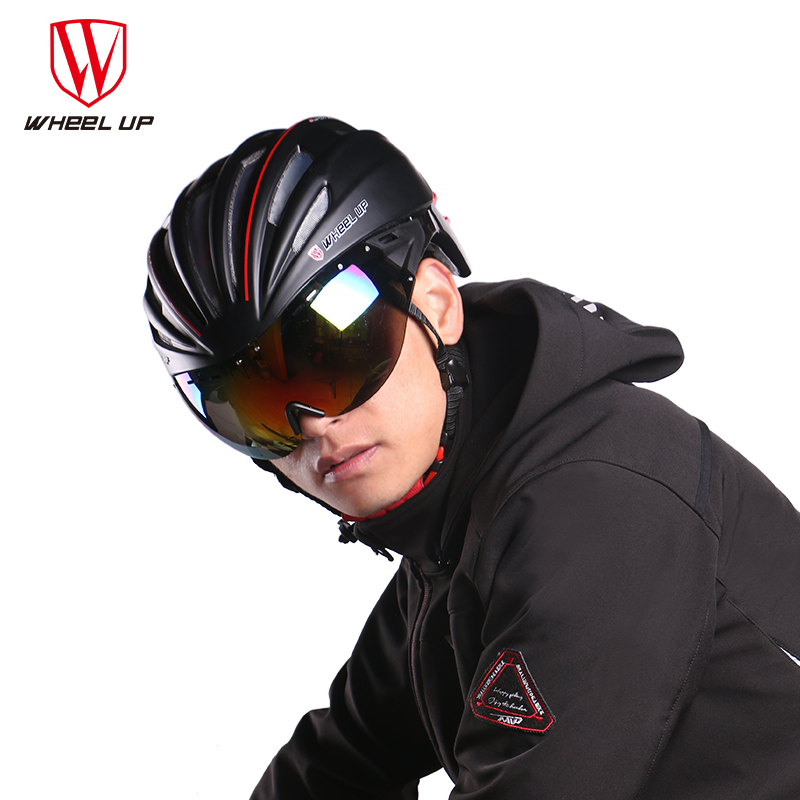 Windproof Removable Lenses Bicycle Helmet Cycling Mtb helmet Men Mountain Bike Bicycle Helmets For Men With Goggles santic men s cycling hooded jerseys rainproof waterproof bicycle bike rain coat raincoat with removable hat for outdoor riding