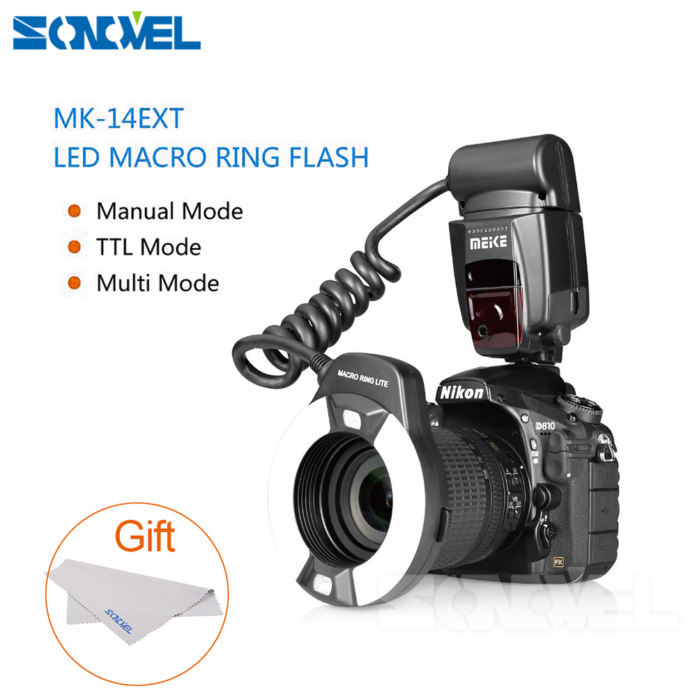 Meike MK 14EXT LED TTL Macro Ring Flash Lite AF I TTL Assist Lamp For Nikon D7000 D5000 D5100 D3200 D3100 D3000 D3 D800 D700 D2