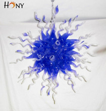 Free Shipping AC Led Hallway Blue Colored Murano Glass Modern Chrome Chandelier